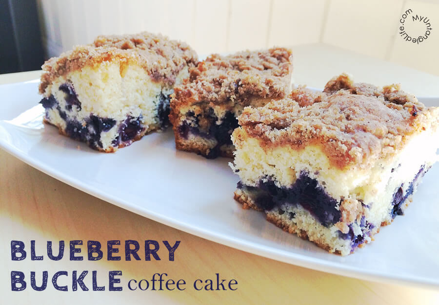 This blueberry buckle coffee cake is the one we used to love as kids. You could eat it for breakfast, with tea or coffee, or as a dessert.