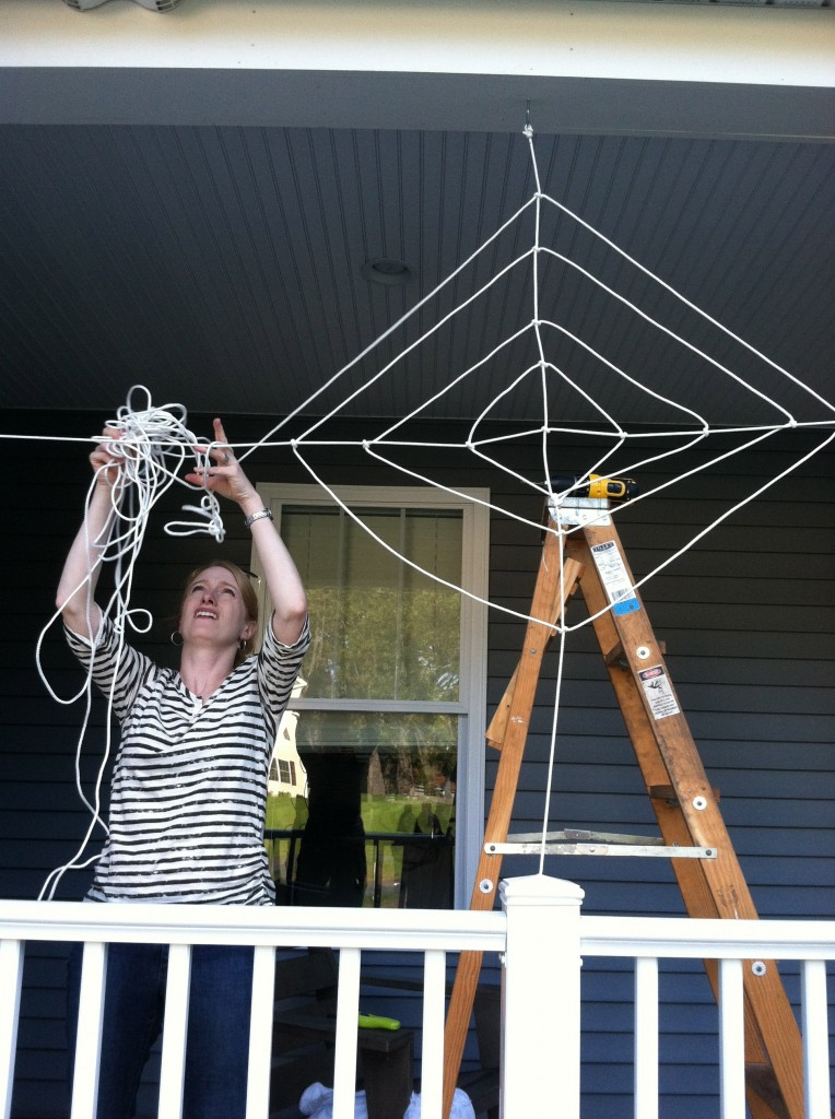 DIY Halloween Spider Web in Progress