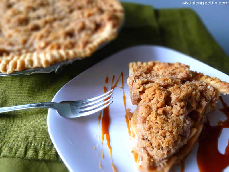 Apple Crumb Pie with Salted Caramel Sauce - myuntangledlife.com