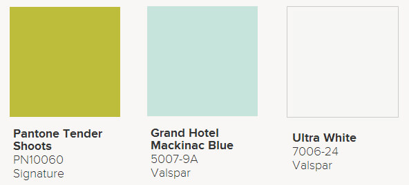 Valspar Ultra Interior Paint in Tender Shoots, Grand Hotel Mackinac Blue and Ultra White