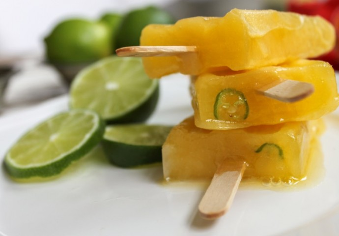 Cooking Stoned Boozy Mango Popsicle with Lime Serrano