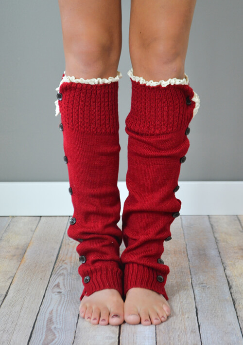 Cranberry Button Down Leg Warmers with Lace Trim