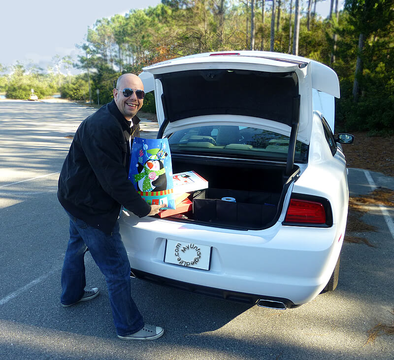 Hitting the Road with Gifts and a Dodge Charger #walmartauto