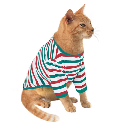 Holiday Stripe Pajamas for Cats