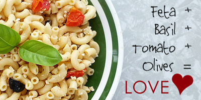 Pasta with Basil, Feta, Olives and Tomato