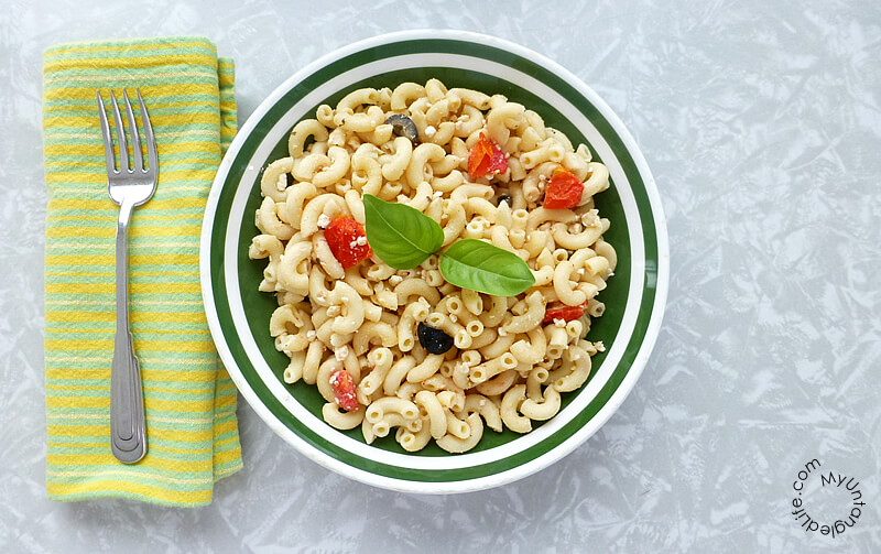RECIPE: Pasta with Basil Feta Olives and Tomato