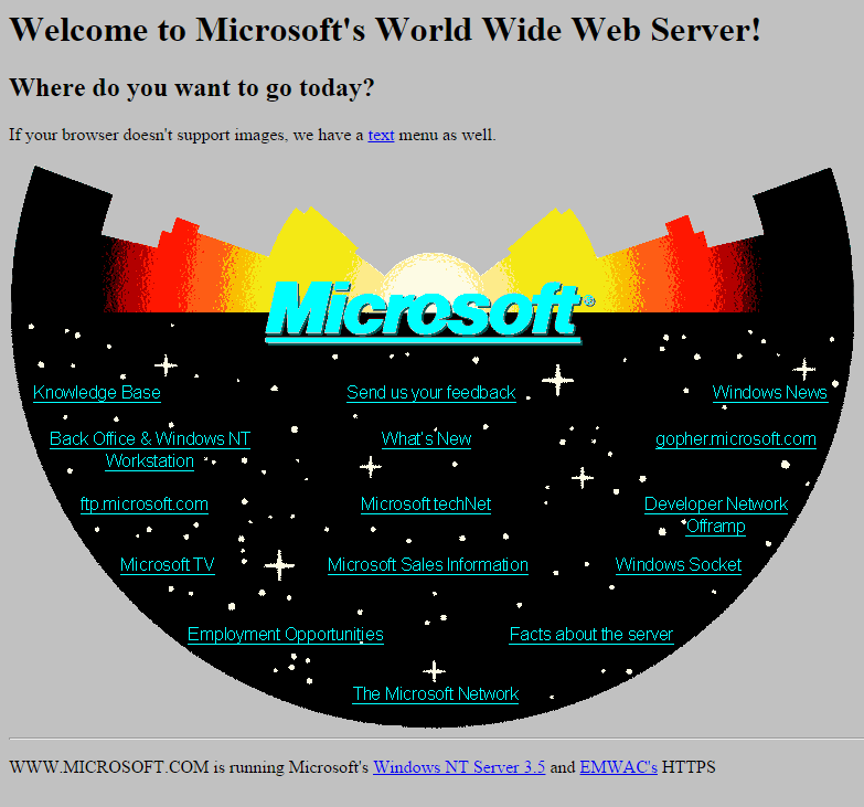 Microsoft's First Website Design