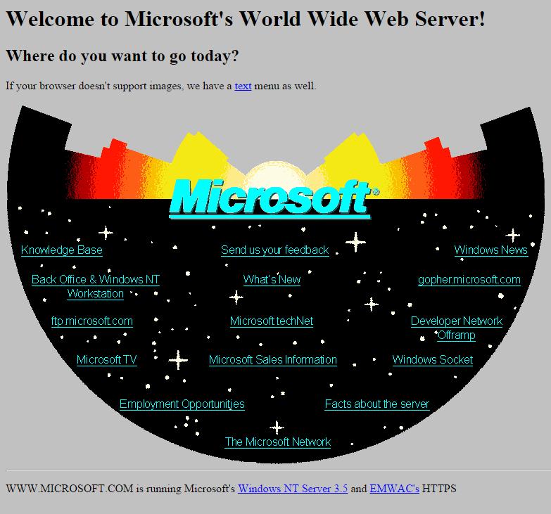Microsoft's First Website Design