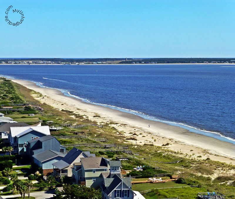 View of Bald Head Island NC from Oak Island Lighthouse