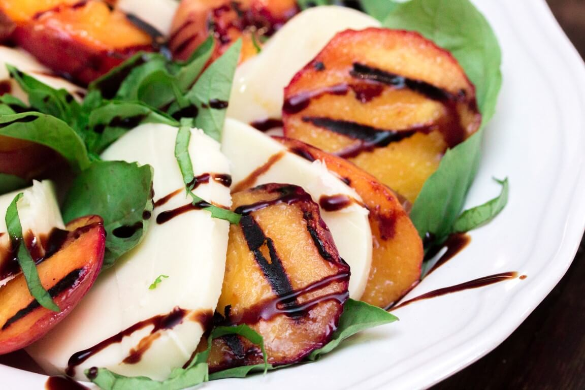 Grilled Peach Caprese Salad - Something on the grill for Vegetarians!