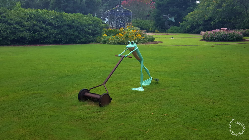 Mowing Airlie Gardens Ribbit the Exhibit