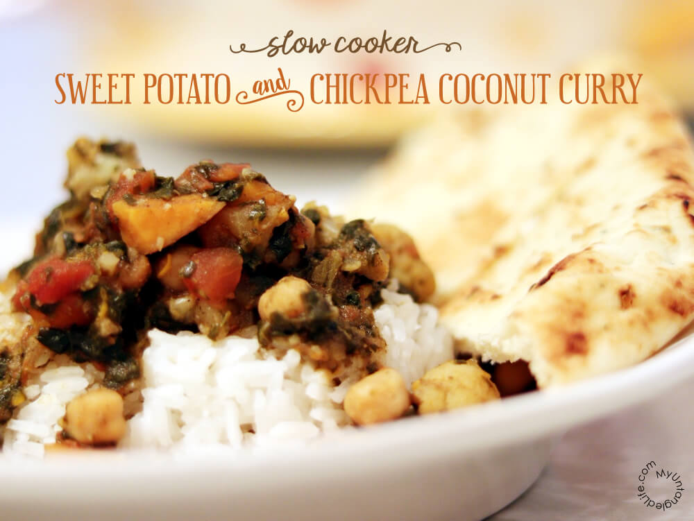 This Slow Cooker Sweet Potato Chickpea Curry recipe hits so many of my weak spots – coconut, cauliflower, chickpeas, and sweet potatoes.